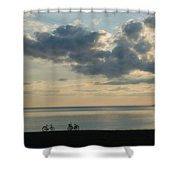 Bike Silhouettes By The Coast Shower Curtain by Kennerth and Birgitta Kullman