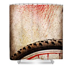 Bike Wheel Red Spray Shower Curtain by Silvia Ganora