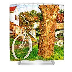 Bike With Flowers Shower Curtain