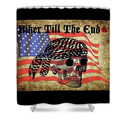 Biker Skull American Flag Old Paper Art Shower Curtain