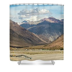 Bikers And The Andes Mountains Shower Curtain
