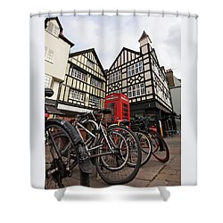 Shower Curtain featuring the photograph Bikes Galore In Cambridge by Gill Billington