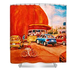 Biking Past The Orange Julep Shower Curtain by Carole Spandau