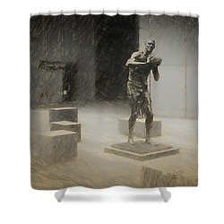 Bill Russell Statue Shower Curtain