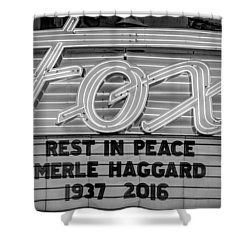 Billboard Merle Haggard Rip Black And White Shower Curtain