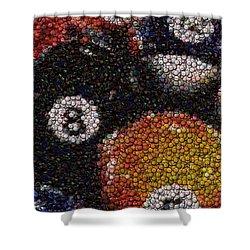 Billiard Ball Bottle Cap Mosaic Shower Curtain by Paul Van Scott