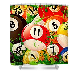 Billiards Collage Shower Curtain by David G Paul