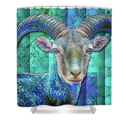 Billy Goat Blue Shower Curtain