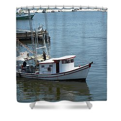 Bilouxi Shrimp Boat Shower Curtain by Cynthia Powell