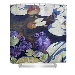 Shower Curtain featuring the painting Biltmore Lilypads by Robert Decker