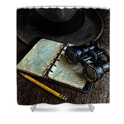 Binoculars Fedora And Notebook Shower Curtain