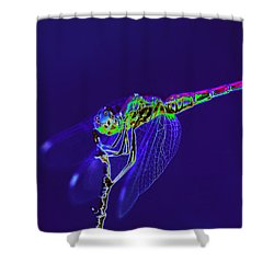Bioluminescent Dragonfly Shower Curtain by Richard Patmore