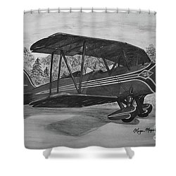 Biplane In Black And White Shower Curtain by Megan Cohen