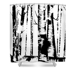 Birch Forest Black Shower Curtain
