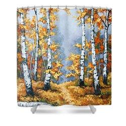 Birch Forest Path Shower Curtain