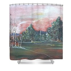 Shower Curtain featuring the painting Birch Grove by Pat Purdy