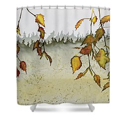 Birch In Autumn Shower Curtain by Carolyn Doe