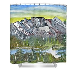 Birch Mountains Shower Curtain
