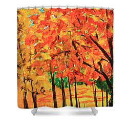 Birch Tree /autumn Leaves Shower Curtain by Nancy Czejkowski