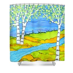 Birch Tree Landscape  Shower Curtain