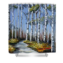 Birch Tree Path Shower Curtain by Trina Teele