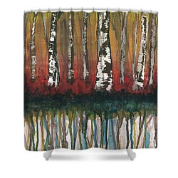 Birch Trees #2 Shower Curtain by Rebecca Childs