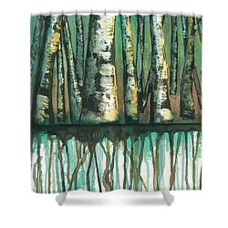 Birch Trees #5 Shower Curtain by Rebecca Childs