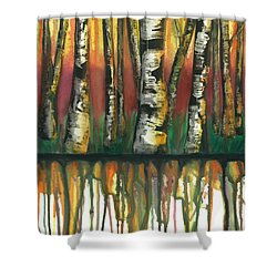 Birch Trees #6 Shower Curtain by Rebecca Childs
