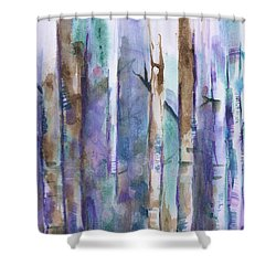 Birch Trees Abstract Shower Curtain by Frank Bright