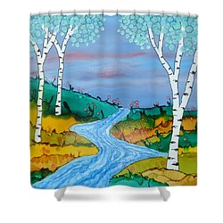 Birch Trees And Stream Shower Curtain