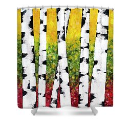 Shower Curtain featuring the mixed media Birch Forest Trees by Christina Rollo