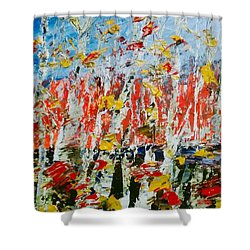 Birch With Foilage - Fall Shower Curtain