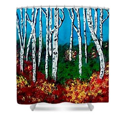 Shower Curtain featuring the painting Birch Woods by Sonya Nancy Capling-Bacle