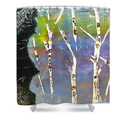 Birches In Wax Shower Curtain