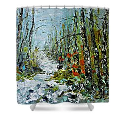 Birches Near Waterfall Shower Curtain
