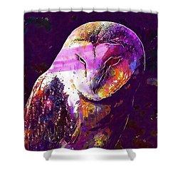 Shower Curtain featuring the digital art Bird Barn Owl Owl Barn Animal  by PixBreak Art