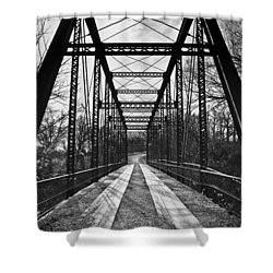 Bird Bridge Black And White Shower Curtain