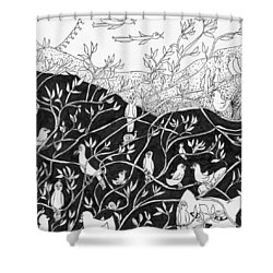 Shower Curtain featuring the painting Bird Convention by Lou Belcher