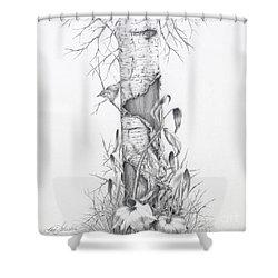 Bird In Birch Tree Shower Curtain