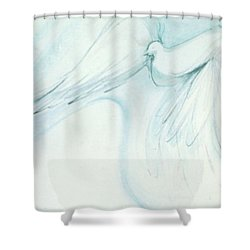 Shower Curtain featuring the drawing Bird In Flight by Denise Fulmer