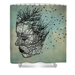 Bird Lady Shower Curtain by Diana Boyd
