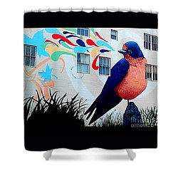 San Francisco Blue Bird Painting Mural In California Shower Curtain