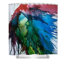 Shower Curtain featuring the painting Bird Of  Many Colours by Pat Purdy