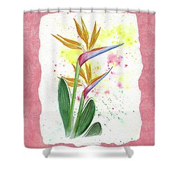 Bird Of Paradise Watercolor Splashes Shower Curtain