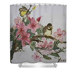 Shower Curtain featuring the painting Bird On Blossoms by Avonelle Kelsey
