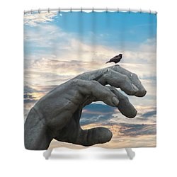 Bird On Hand Shower Curtain
