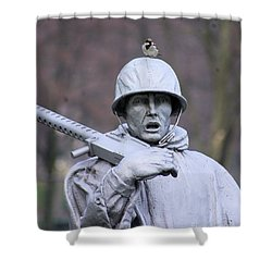 Shower Curtain featuring the photograph Bird On My Head by John S