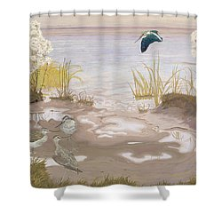 Bird On The Mud Flats Of The Elbe Shower Curtain by Friedrich Lissmann