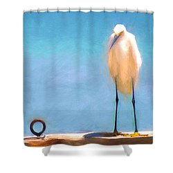 Bird On The Rail Shower Curtain