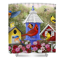 Bird Painting - Primary Colors Shower Curtain